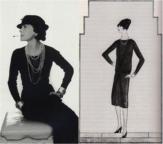 Coco Chanel with her first little black dress design, circa 1926